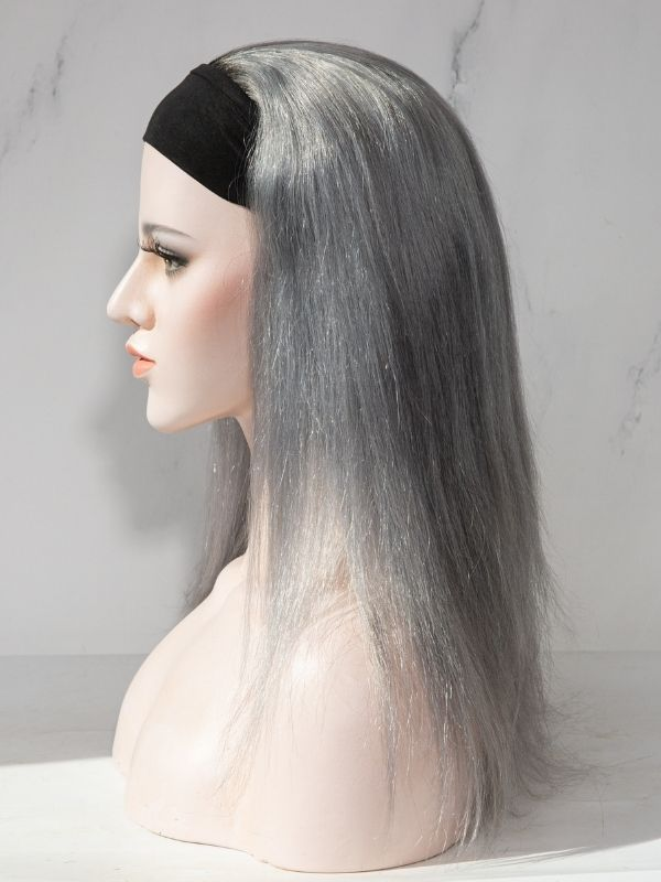 130% Density Black to Silver Headband Human Hair Wig HB08