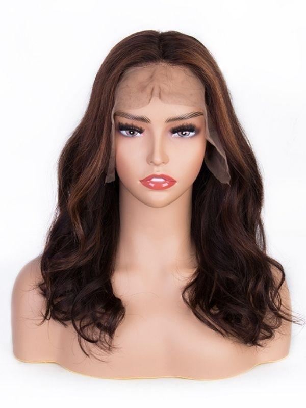 Dark Brown with Highlight Lace Front Middle Part Wig W23