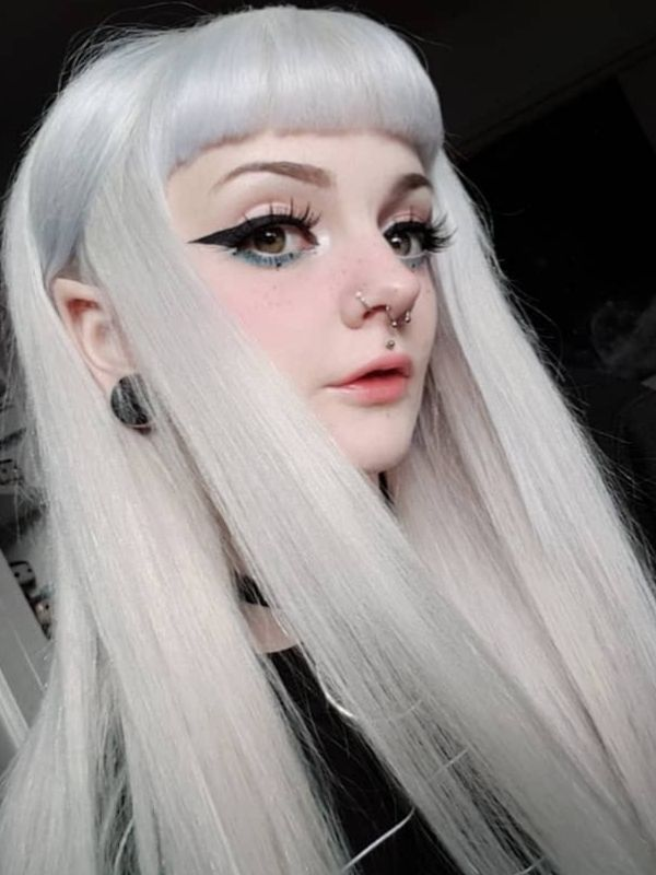 Lace Front Middle Part Silver Wig with Bangs bxbykuma