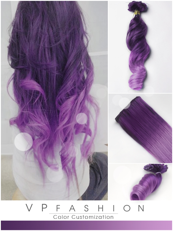 purple and lavender ombre colorful indian remy clip in hair extensions-c012