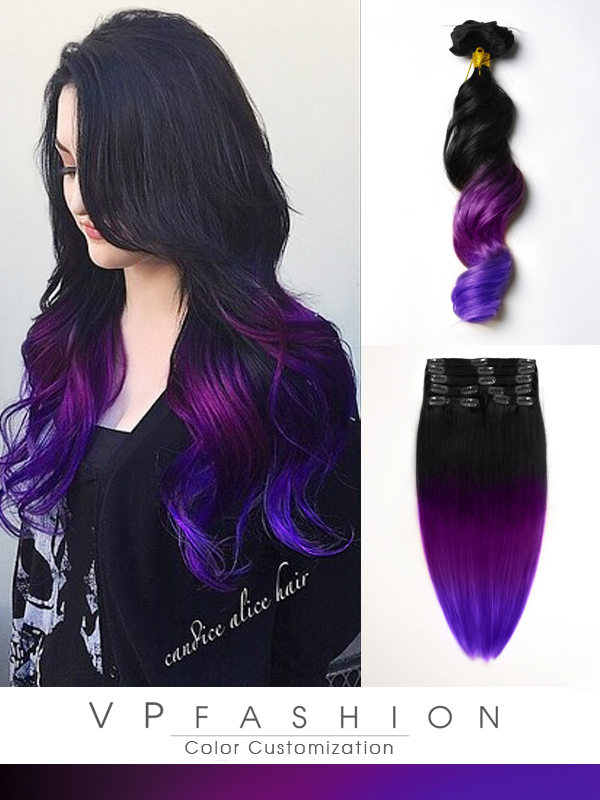 black to purple mermaid colorful ombre indian remy clip in hair extensions-c022