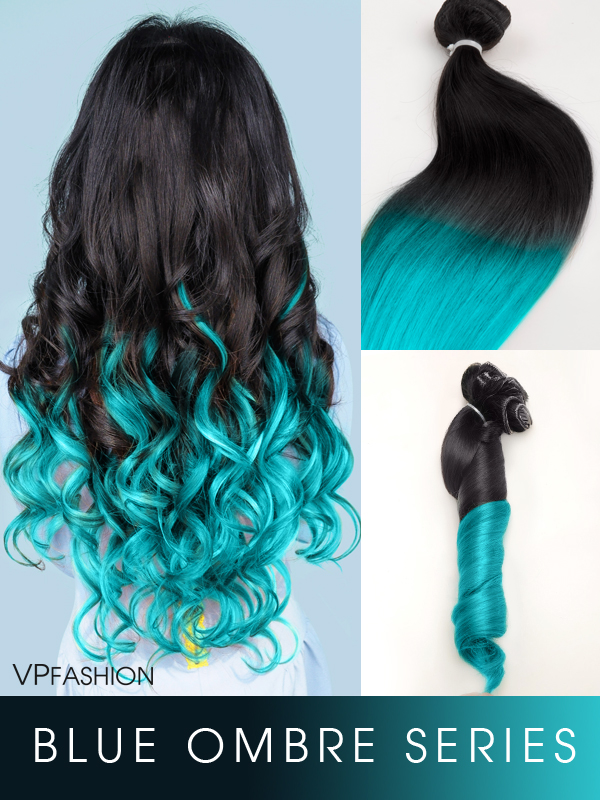 vpfashion blueshade colorful ombre indian remy clip in hair extensions series-c029