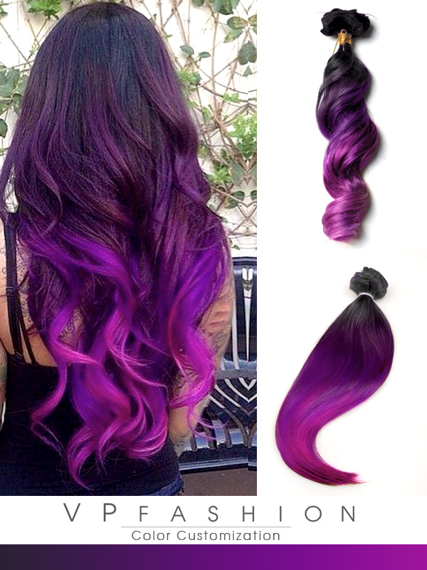 black to purple mermaid colorful ombre indian remy clip in hair extensions-c032