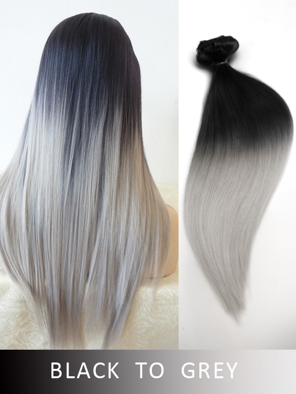 Long Silver Ombre Ash Blonde And
