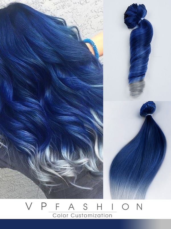 Blue To Silver Colorful Clip In C080