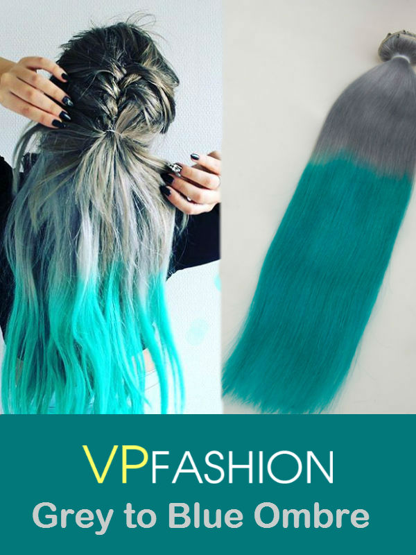 Grey to Blue Colorful Clip In Human Hair Extensions FBC004