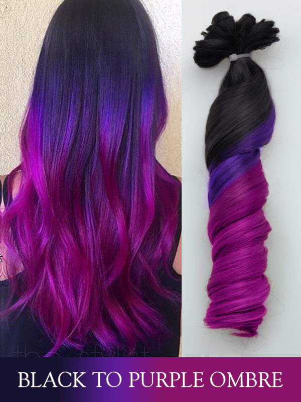 Black to Purple Ombre Colorful Ombre Indian Remy Clip In Hair Extensions FBC012