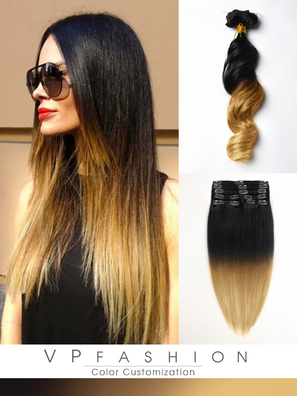 Two Colors Ombre Clip In Hair Extensions M0127A