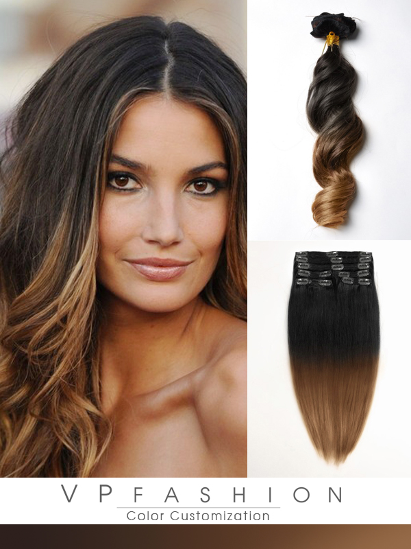 Two Colors Ombre Clip In Hair Extensions M0227w M0227w 11900