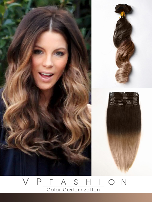 Two colors ombre indian remy clip in hair extensions M0414