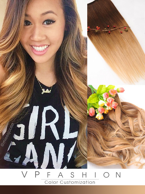 Two colors ombre indian remy clip in hair extensions M0427