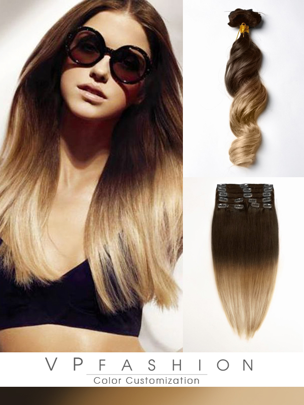 Two colors ombre indian remy clip in hair extensions M0514