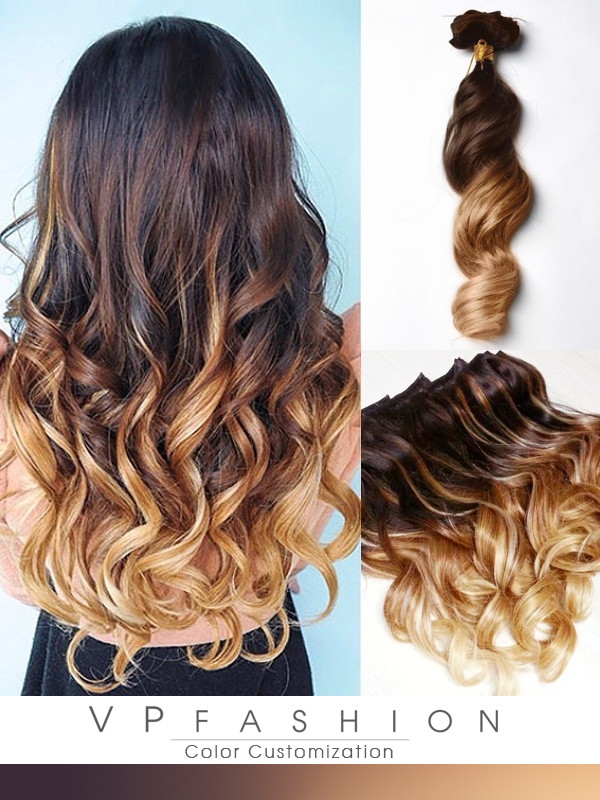 Two colors ombre indian remy clip in hair extensions m053027h27