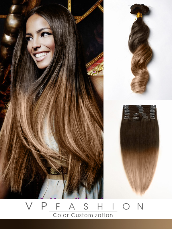 Two Colors Ombre Clip In Hair Extensions M0614