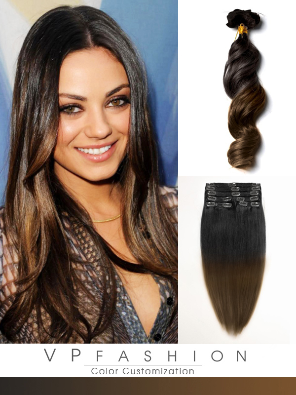 Two Colors Ombre Clip In Hair Extensions M1B05