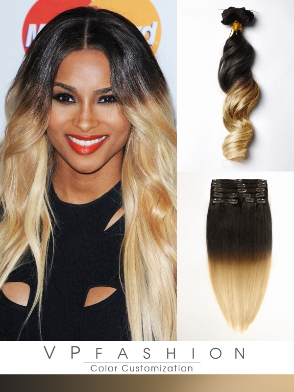 Two Colors Ombre Clip In Hair Extensions M1B27