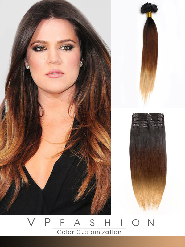 Three Colors Ombre Clip In Hair Extensions M1B3027