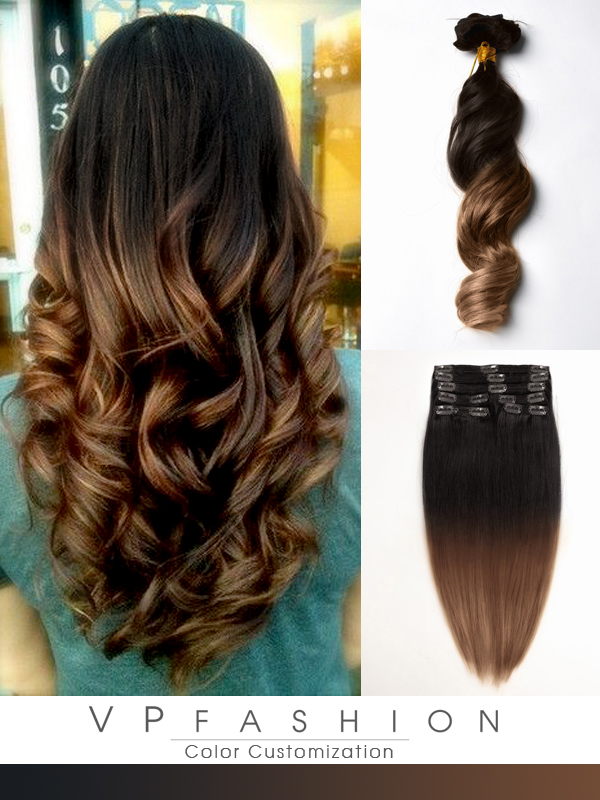 two colors ombre indian remy clip in hair extensions-m1b30a