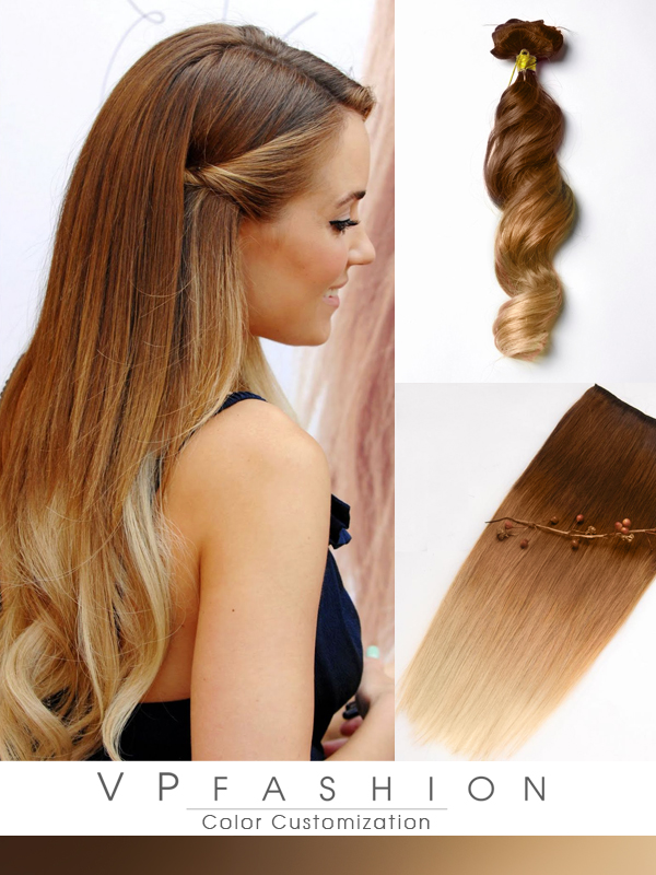 Two colors ombre indian remy clip in hair extensions M3027