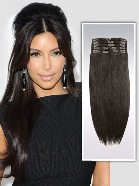 Darkest Brown indian remy clip in hair extensions S02
