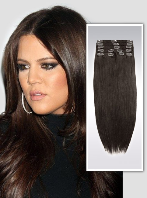 Darkest Brown indian remy clip in hair extensions S03