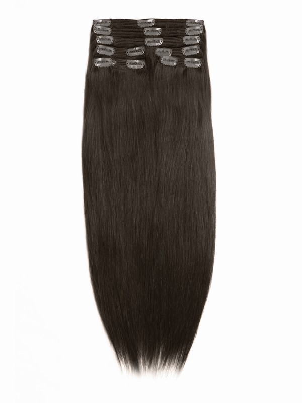 Medium Reddish Brown Solid Clip In Indian Remy Hair Extensions S04