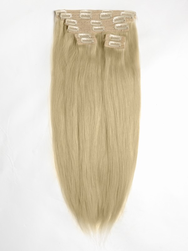 Light Golden Brown Solid Clip In Indian Remy Hair Extensions S12