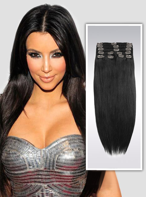 Off Black indian remy clip in hair extensions S1B