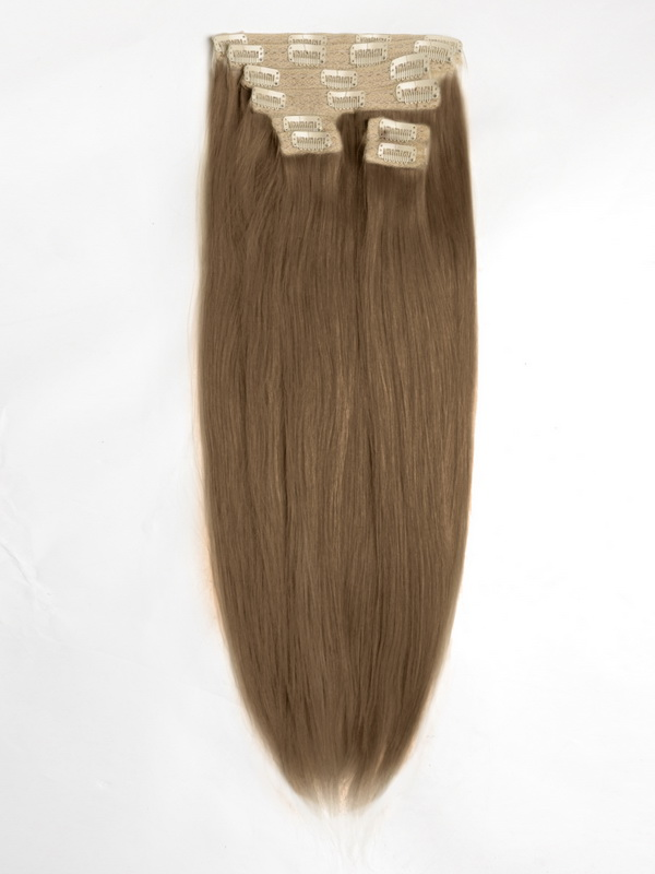 Light Cool Brown Solid Clip In Indian Remy Hair Extensions S30a