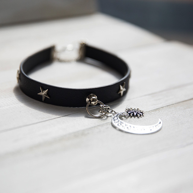 Moon Star Leather Studded Choker