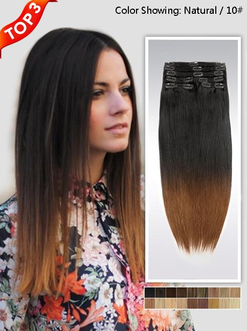 "18"" Two-Colors ombre Indian remy clip in hair extension uso118 (8 pcs-100g)"