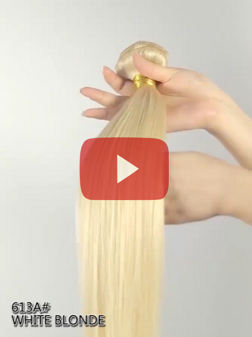 White Blonde (DIY DYE) Indian Remy  Clip In D613A